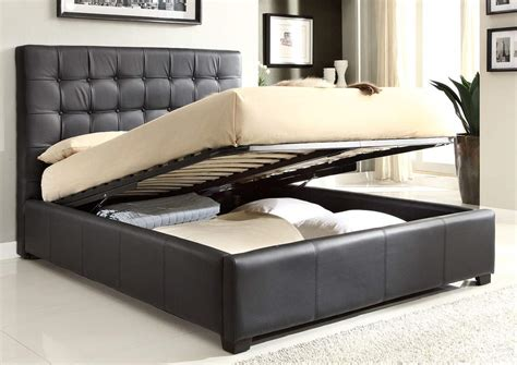 any room bedroom end of bed tv lift stylish leather high end platform bed with storage