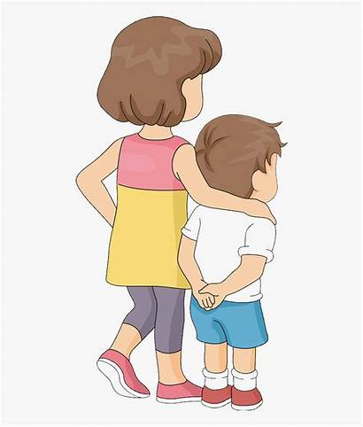 Brother Clipart Sister Sibling Drawing Hugging Clip