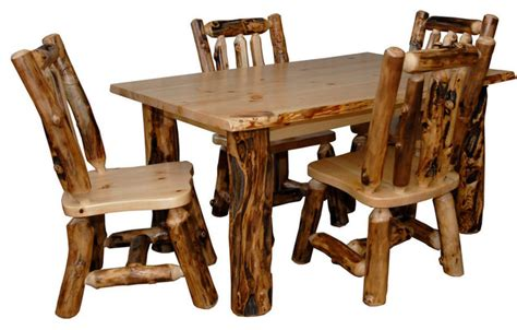 log table and chairs rustic aspen log kitchen table set table 4 dining chairs