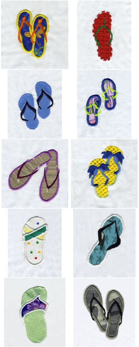 flip flop design machine embroidery designs flip flops set
