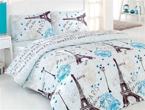 100% Cotton 4 Pcs Turquoise Paris Eiffel Tower Queen