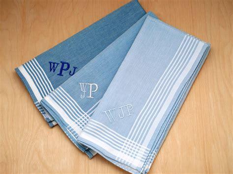 free shipping 3 mens monogrammed handkerchiefs script set of 3 variety of blue striped monogrammed hankies font r
