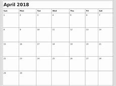 April 2018 Month Calendar