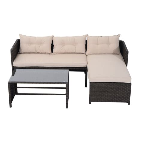 Outsunny Patio Furniture Set 3pc Rattan Wicker Sofa Chaise