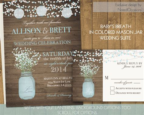 Mason Jar Wedding Invitations Suite Rustic By Notedoccasions