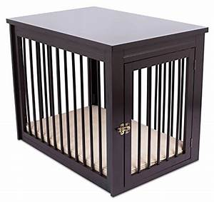 Internet39s best decorative dog kennel with pet bed for Best wooden dog crate