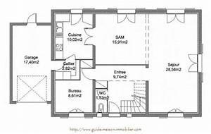 idee plan maison en longueur maison design bahbecom With plan de maison 100m2 1 plan maison 100 m178 en v de plain pied ooreka