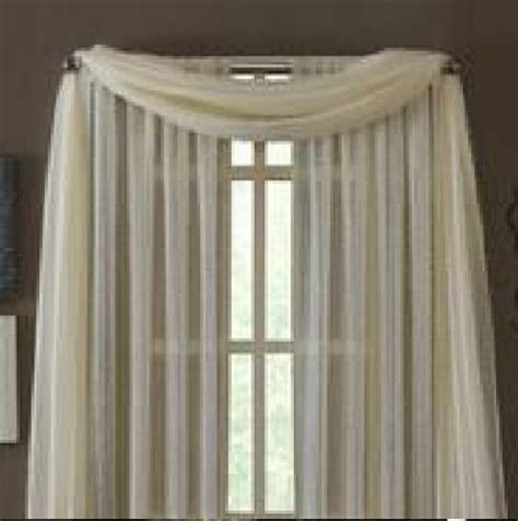Scarf Drapes - beige scarf sheer voile window curtain drapes valance many