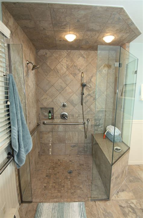 walk  shower remodel bathroom contemporary