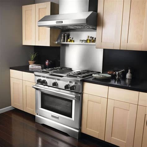 kitchenaid kxwyss  wall mount chimney range hood  optional blowers  btu