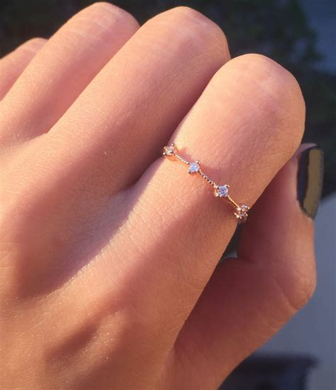 Rose Gold Four Stone Band dainty rose gold ring / minimal