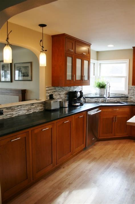 oak cabinets with a cherry stain woodworking custom furniture cabinets and concrete in
