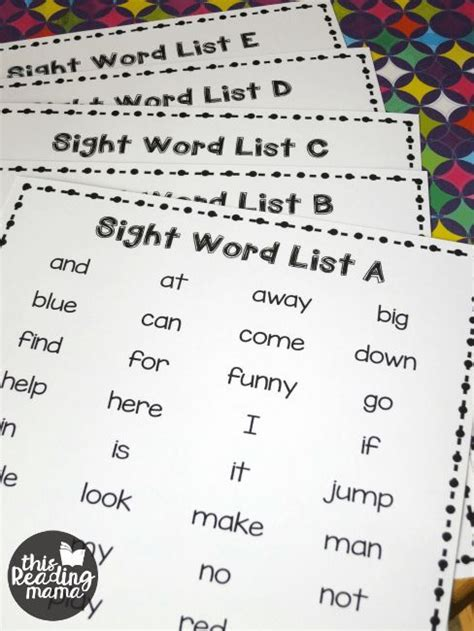 printable sight words list dolch sight words  frys