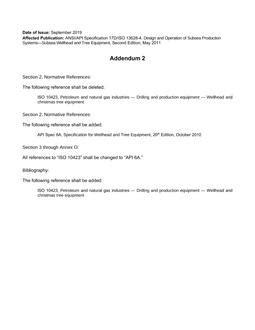 API – Standards list