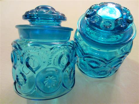 blue glass l l e smith blue glass apothecary lidded jars moon for