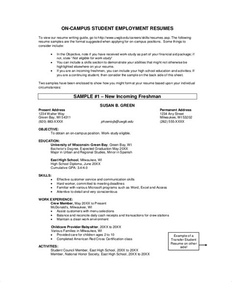 Employment Resume by Sle Student Resume 7 Documents In Pdf Word