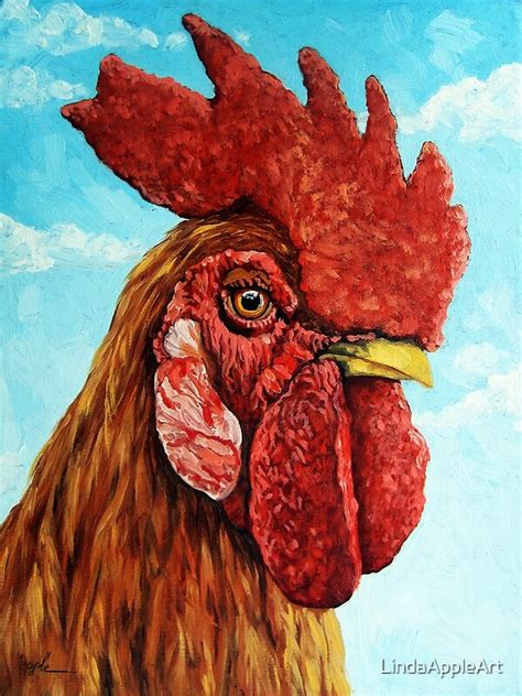 rooster realistic oil painting farm animal  lindaappleart redbubble