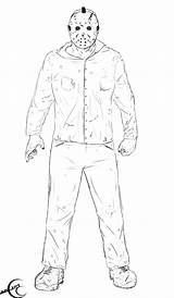 13th Friday Jason Coloring Voorhees Template Drawings Ec87 Tattoo sketch template