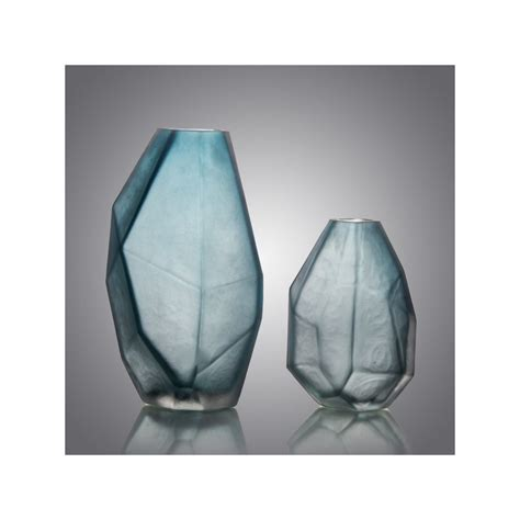 Buy Modern Faceted Blue Glass Vases at 20% off