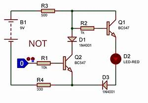 Logic Gate Using Transistor And Diode Not Working On