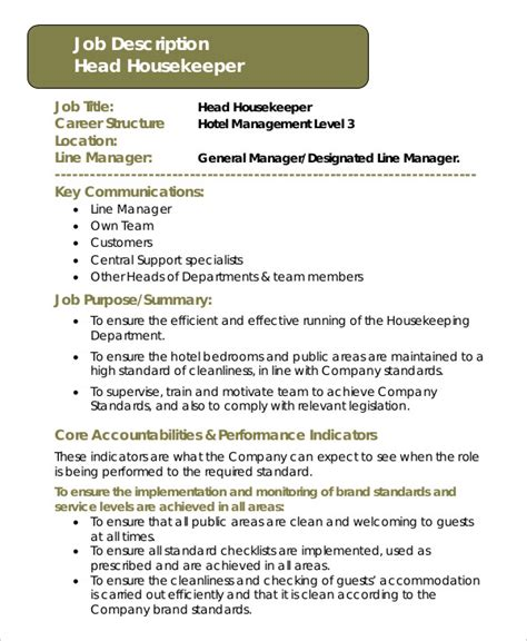 housekeeper description exle 14 free word pdf
