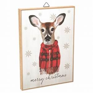 Holiday, Time, Merry, Christmas, Deer, Hanging, Sign, Decoration, 10, U0026quot, X, 14, U0026quot, -, Walmart, Com