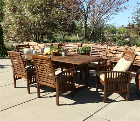 walker edison 7 acacia wood patio dining set with