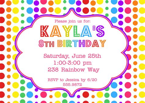 invitation party templates rainbow birthday party invitation 12 00 via etsy