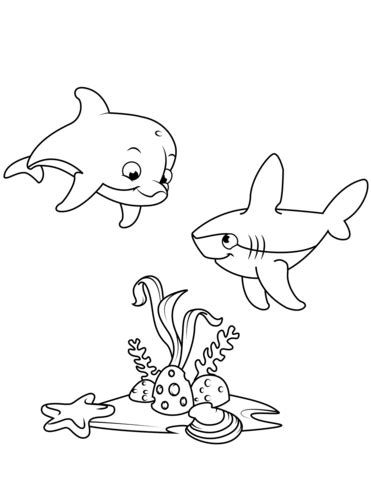 Cute Dolphin and Shark coloring page Free Printable