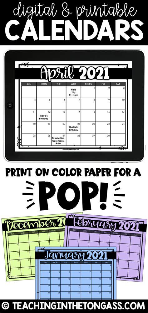 printable  digital calendar editable   digital