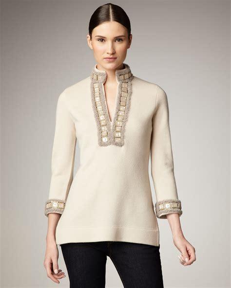 tunic miranda lyst burch miranda embellished wool blend tunic in