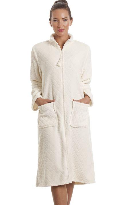 robe de chambre polaire fermeture eclair fleece ivory zip front house coat