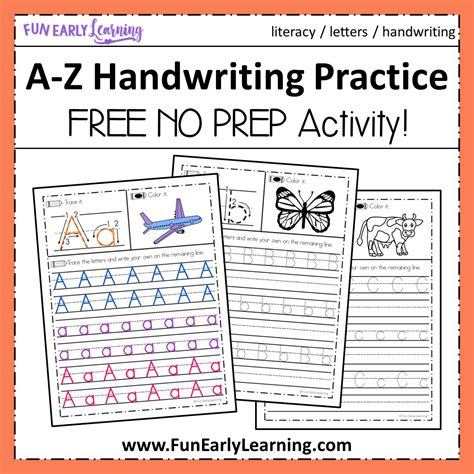 a z handwriting practice no prep worksheets for learning