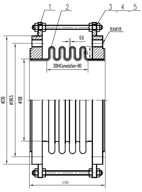 """4""""-190mm ANSI flanged metal bellow PTFE Expansion Joint"""