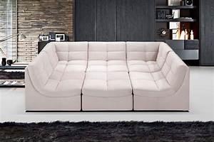 9148 6 pcs beige cloud modular sectional w ottoman With modular sectional sofa with ottoman