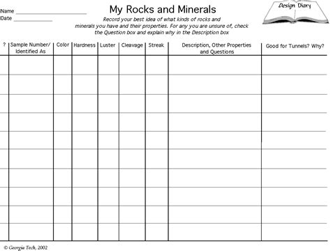Mineral Identification Worksheet Free Worksheets Library  Download And Print Worksheets Free