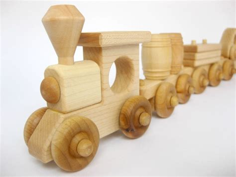wooden toy train set  cars natural wood toy