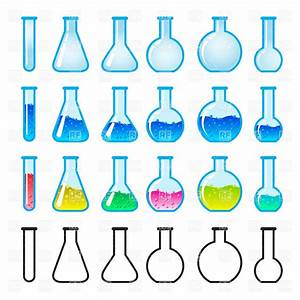 Laboratory glass flasks and test tubes Vector Clipart ...