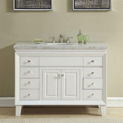 Marble Top Bathroom Cabinet by 48 Inch White Carrara Marble Top Bathroom Vanity