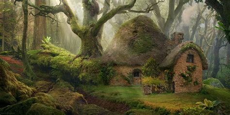 house nature forest fantasy art wallpapers hd desktop