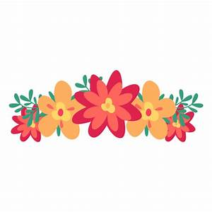 Orange red flower crown - Transparent PNG & SVG vector