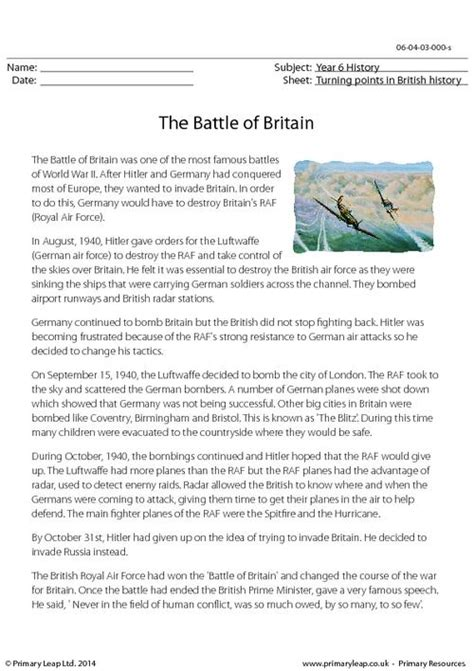 the battle of britain reading comprehension primaryleap co uk