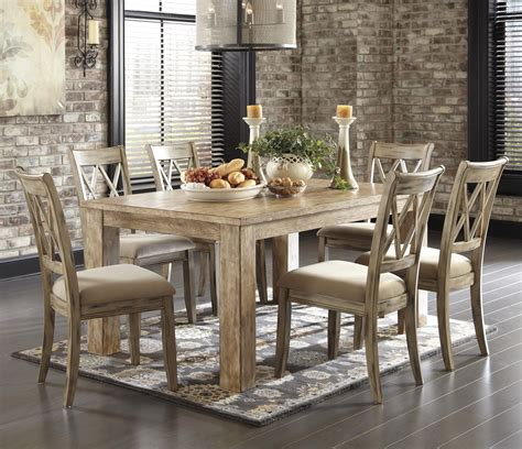 Mestler Upholstered Side Chair by Signature Design By Mestler 7 Table Set With