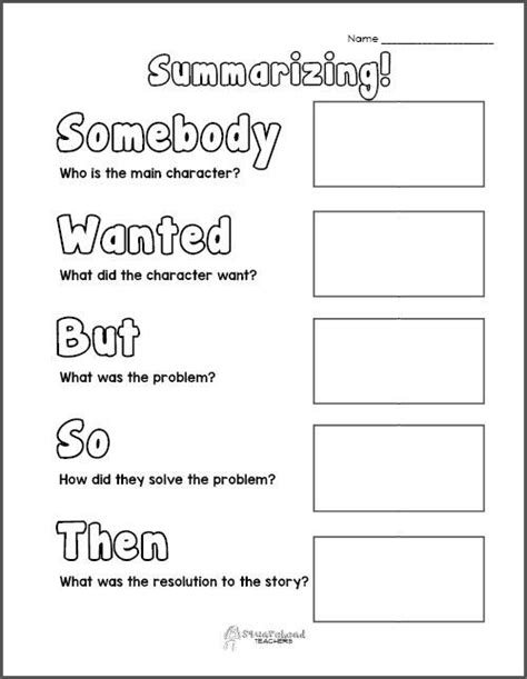 free printable summarizing graphic organizers grades 2 4