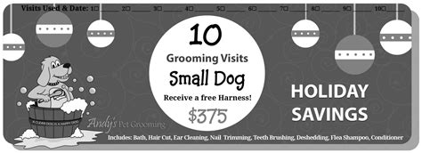 Promos & Coupons - Black & White (Print) - Andys Pet Grooming