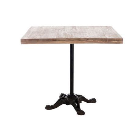 table de bistrot carree table bistro carre en m 233 tal et plateau bois nat achat vente table a manger seule table