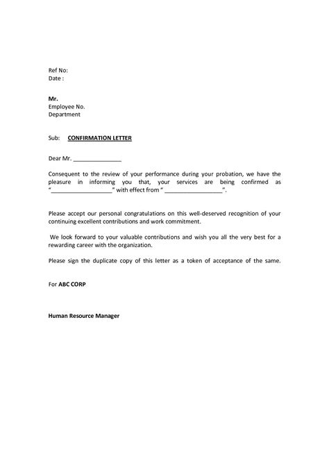 Perfect Employee Confirmation Letter After Probation Period And Pics di 2020