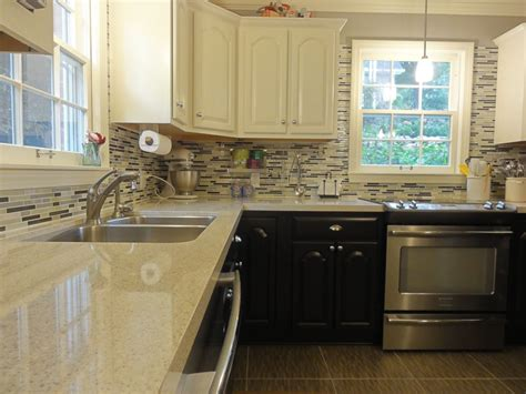 mosaic tile kitchen countertop ours two tone kitchen cabinets stainless appliances quartz 7866