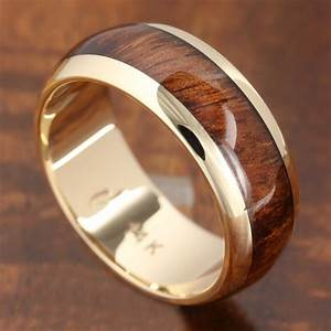 14k solid yellow gold with koa wood inlay wedding ring 7mm With koa wedding rings