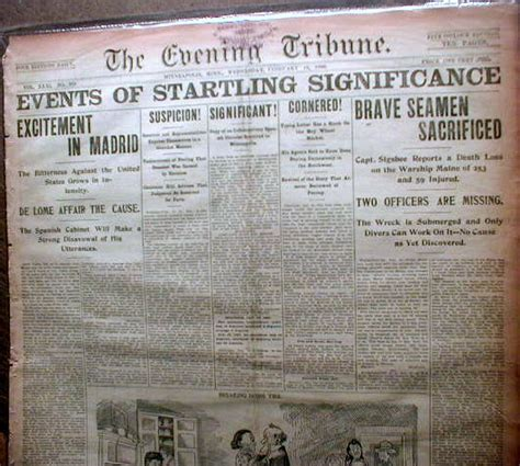 Sinking Of The Uss Maine Newspaper by 1898 Headline Newspaper Uss Maine Sunk By Explosion